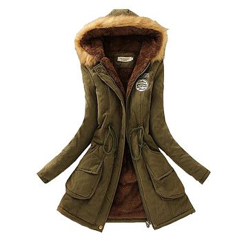 Winter Women Coat 2017 Parka Casual Outwear Military Hooded Coat Woman Clothes Fur Coats female Winter Jacket Women CC001