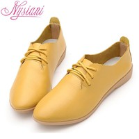 Leather Oxford Women Pointed Toe Casual Flat  Loafers Shoes