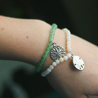 Sea glass or Shell Sand Dollar Bracelets