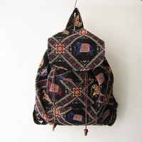 tribal rucksack,elephant hippie backpack,boho black rucksack, girl school bag, travel bag, weekender bag gift idea