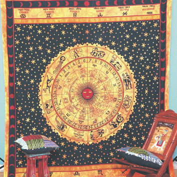 Queen Horoscope Tapestry, Indian Zodiac Tapestry, Throw  Wall Hanging, Bohemian Tapestry, Hippie Decor Bedspread, ASTROLOGY Tapestry