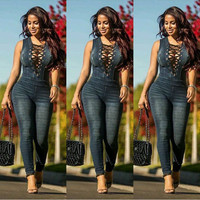 Lace-Up Denim Jumpsuits