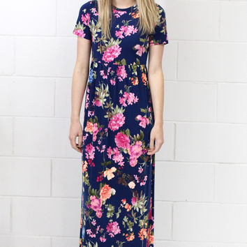 Chasing Summer Floral Maxi Dress {Navy Mix}