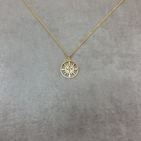 Sun Compass Gold Necklace