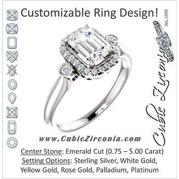 Cubic Zirconia Engagement Ring- The Adoración (Customizable Emerald Cut Style with Halo and Twin Round Bezel Accents)