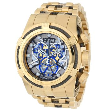 Invicta 13758 Men's Bolt Zeus Silver Skeleton Dial Gold Plated Steel Chronograph Dive Watch