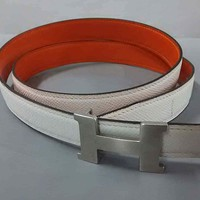 Auth HERMES White Silver Leather Hardware H Belt Square M #80