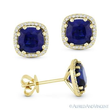 2.68ct Cushion Cut Lab Sapphire Round Diamond Halo 14k Yellow Gold Stud Earrings