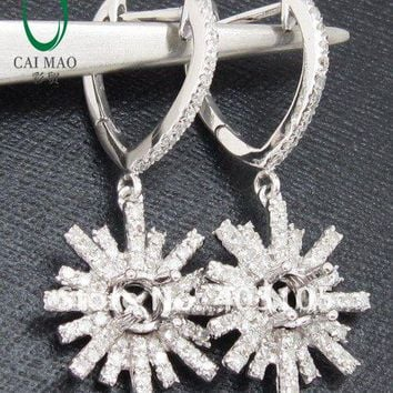 14KT White Gold 5.0mm  0.75CT Diamond Setting Snowflake Mounting