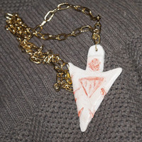 Arrowhead Amulet Protection, Gold Chain Necklace. Polymer Clay, Men's Jewelry, gift for him