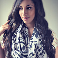 Black white floral infinity Scarf, Light chiffon infinity