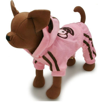 Cute Pink Monkey Suit for Dogs & Pet Clothing - Size 1