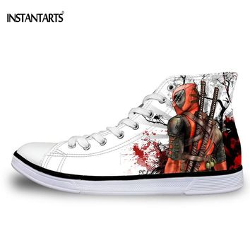 INSTANTSARTS Men's Lace-up Vulcanized Shoes Cool Super Hero Deadpool Printed Casual High top Canvas Shoes Fashion Men Sneakers