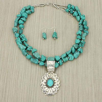 Turquoise Nugget Bead Necklace Set