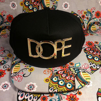 Dope Gold Logo Custom Paisley Kid Ink snapback Hat Cap