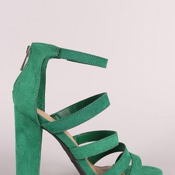 Strappy Suede Ladder-Up Chunky Heel