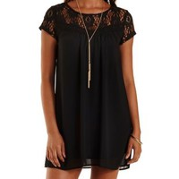 Black Crochet & Chiffon Babydoll Dress by Charlotte Russe