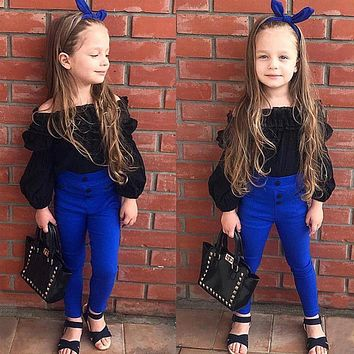 New Fashion Children Girls Cute Clothes Sets Off Shoulder Ruffles Tops T-shirt +High Waist Solid Long Pants For Little Ladies