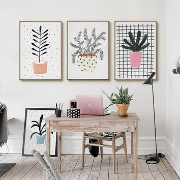 Kawaii Cute  Plant Flowers Poster Print  Modern Nordic Cartoon Nursery Wall Art Picture Room Decor Canvas Painting No Frame