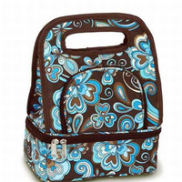 2 Lunch Bags - Cocoa Cosmos Brown Color With Blue Floral Print