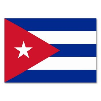 Patriotic table card with Flag of Cuba