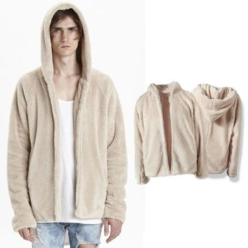 Mens Solid Color Pullover Fleece Sherpa Hoodies Men Streetwear Thick SSection Cool Kanye West Fashion Hiphop Urban Clothing Tyga