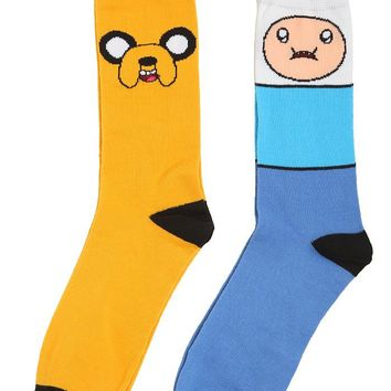 Adventure Time Finn & Jake Men's Crew Socks 2 Pack - 172905