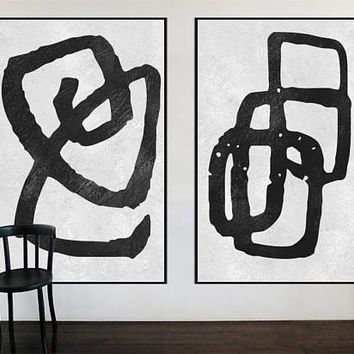 large original painting large Abstract acrylic painting on canvas 2 pieces black and white wall art, art for large wall interior decor