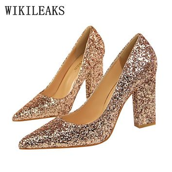 luxury women shoes high heel bling shoes woman square heel shoes 630414c6d183