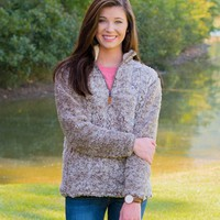 Southern Shirt Company Quarter Zip Sherpa Pullover in Heather Walnut 3V001-293