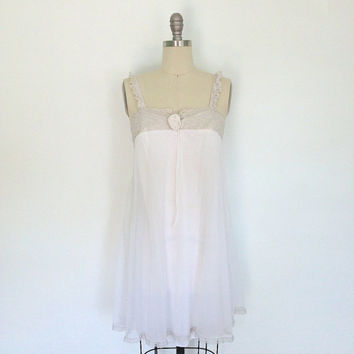 1960s Nightgown Lingerie / Nightie / Olga / White with Taupe Gray Lace / Size 32 Bust Small S