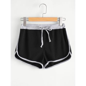 Black Regular Mid Waist Ringer Shorts