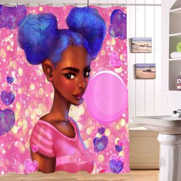 72'' African Black Girl Bubble Gum Black Girl Shower Curtain