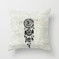 Hipster Lace black dreamcatcher on white wood Throw Pillow by Girly Trend | Society6