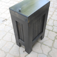 Wood Wooden Kitchen Garbage Can Trash Bin EBONY / BLACK Stain Solid Pine Handcrafted in the USA !! recycle bin trash can