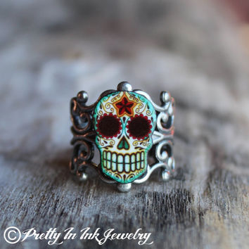 Day of the Dead Filigree Sugar Skull Ring in by PrettyInInkJewelry