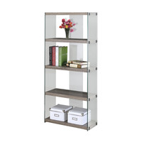 "BOOKCASE - 60""H DARK TAUPE WITH TEMPERED GLASS"