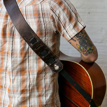 Dapper Brown Leather Guitar Strap