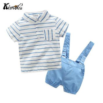 Kimocat  New baby boy clothes set Fashion New Blue stripe navy style suspenders Newborn baby clothing set