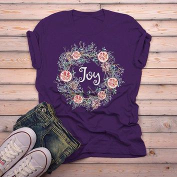 Men's Christmas Wreath Shirt Joy Shirts Beautiful Wreath T Shirt Xmas Outfit Watercolor Graphic Tee