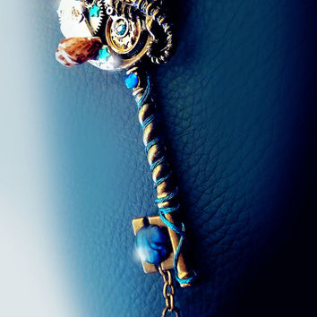 Steampunk key necklace, seahorse necklace, mermaid key, crystal key necklace, ocean necklace, magic, bronze key necklace, abalone shell,OOAK