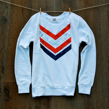 Sequin Chevron Arrow Design Sweatshirt - The Dazzle Me Chevron Shirt - Liam Payne Tattoo American Flag USA NFL Teams