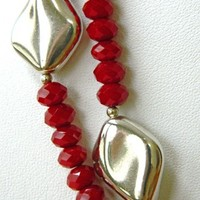 Two Strand Red Glass and Silver Bead Necklace