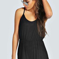 Kate Draped Strappy Back Jersey Playsuit | Boohoo