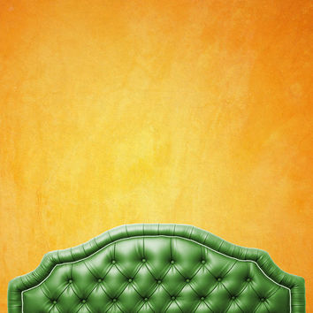 Green Tufted Bed Headboard With Sunset Wall Printed Backdrop - 6211