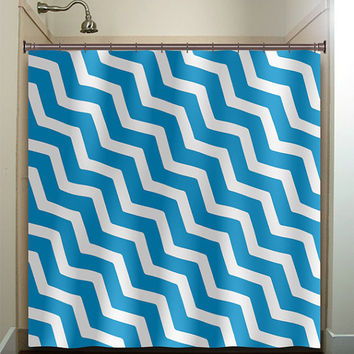 personalized diagonal blue chevron shower curtain bathroom decor fabric kids bath white black custom duvet cover rug mat window