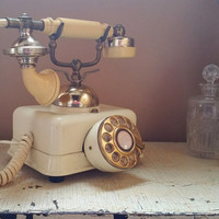 Vintage White Square French Phone  Working Rotary Phone