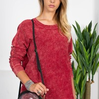 Cotton Ribbed Fall Sweater | Red