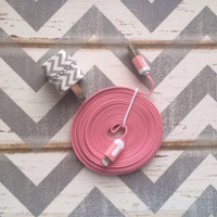 New Super Cute Jeweled Grey & White Chevron Designed  USB Wall Connector + 10ft Flat Pink IPhone 5/5s/5c Cable Cord Super Long