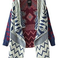 JOLLYCHIC Women Geometric Tribal Pattern Draped Collar Long Sleeve Open Cardigan Size 4 US Blue
